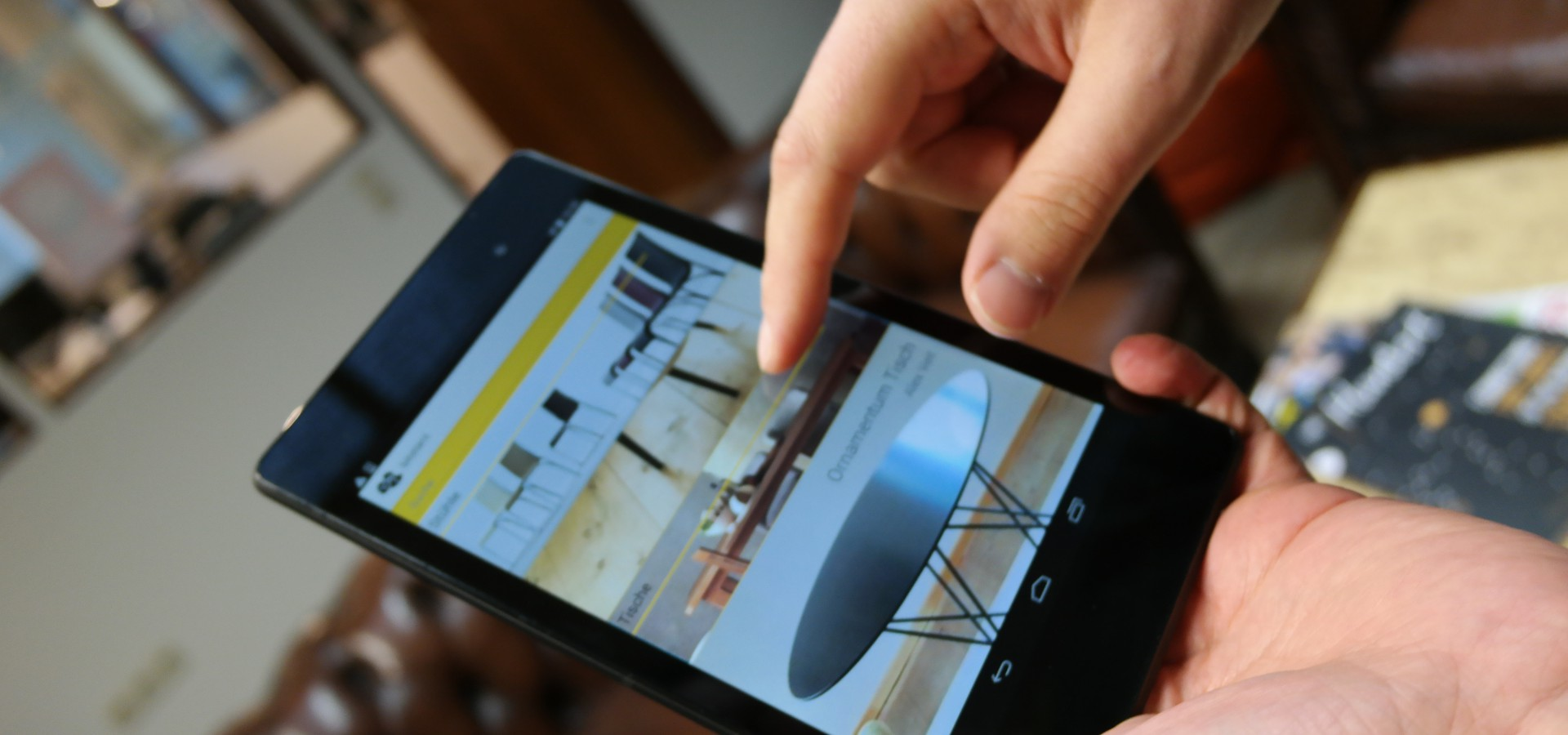 View of the furniture life! catalogue on a smartphone