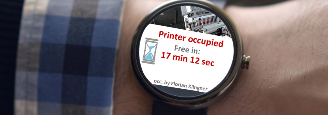 Moto 360 android wear giving status update by informing about printer being occupied